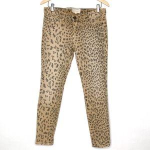 Current Elliott camel leopard skinny jeans 28